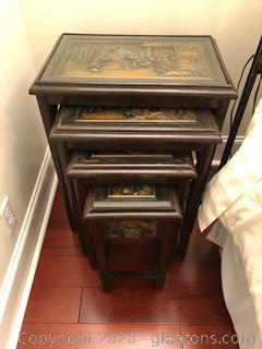 1960's Carved Asian Nesting Tables