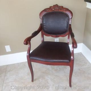 Antique Carved Mahogany Armed Charlotte Co.Chair