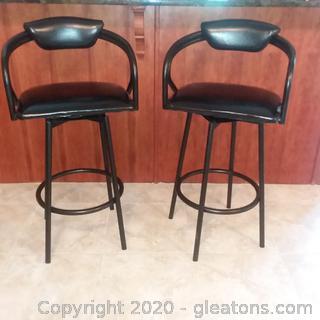 2 Black Metal Swivel Barstools