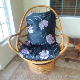 Vintage Rattan Lounge Chair With Cushions