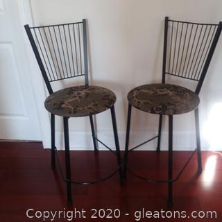2 Metal Barstools With Round Upholstered Seats