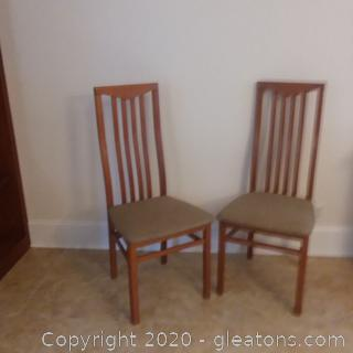 2 Slat-Back Italian Wooden Dining/Side Chairs A