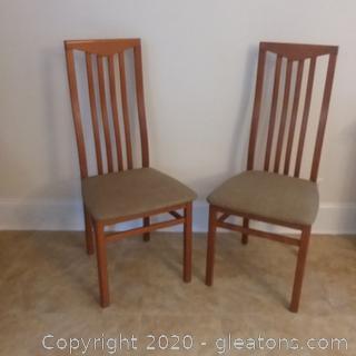2 Slat Back Italian Wooden Dining /Side Chairs C