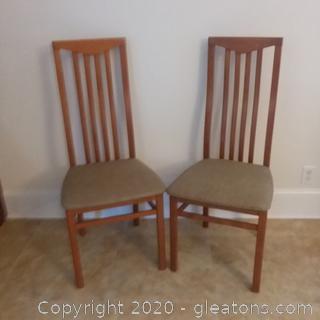 2 Slat Back Italian Wooden Dining/ Side Chairs D