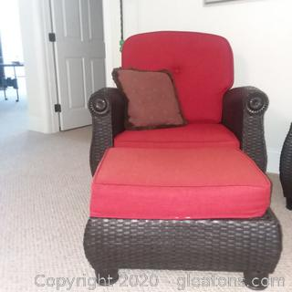 Black Highend Wicker Cushioned Chair With Ottoman (A)