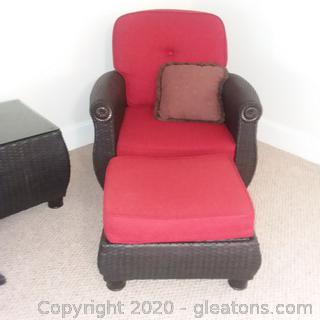 Black Highend Wicker Cushioned Chair With Ottoman (B)