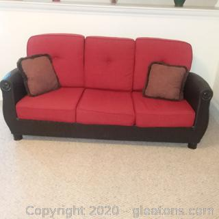 Black High End Wicker Couch With 6 Cushions