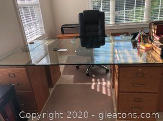 Unique Dual-Sided Glass-Top Executive Desk Grouping
