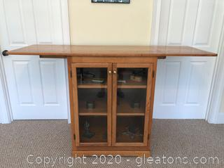 Great Piece! Storage Cabinet/Bar/Sideboard with Fold Out Table on Top