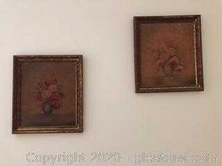 Pair of Vintage Floral Still Lives- Faded but see other pictures here.