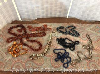 Lot Glass Acrylic and Stone & Hemitite Beaded Necklaces