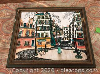 Small Oil Print Signed Bought in Paris