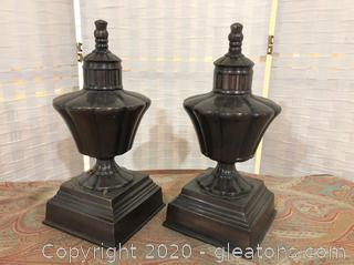 Pair of Bronze-Colored Table Decor Pieces