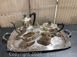 Four Piece Coffee and Tea Service On Beautiful Engraved Tray with Handles