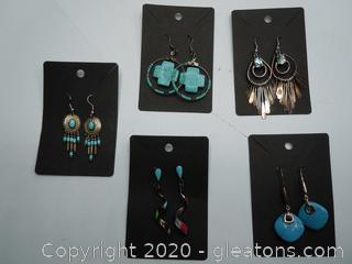 Multi Stone And Sterling Earrings