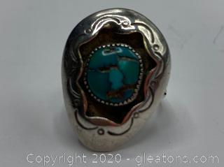 "Sterling Navajo Ring ""T.G"" 6½"
