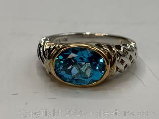 10K and Sterling Blue Topaz Ring