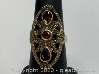 Sterling Marcasite and Garnet Ring