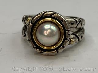 Designer 14K and Sterling Pearl Ring
