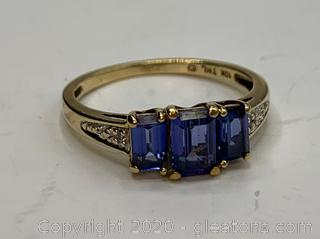 10K IOLITE and Diamond Ring Size 7