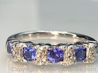 Sapphire and Diamond Sterling Band