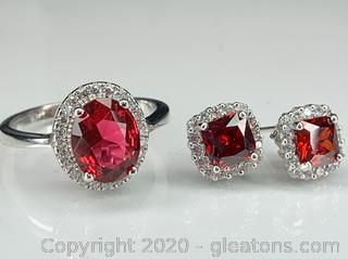 Sterling and Garnet Ring and Matching Earrings