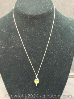 Peridot and Diamond Sterling Necklace