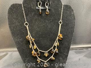 Sterling Double Strand Necklace Citrine and Quartz and Matching Earrings