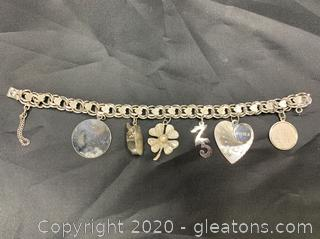 Sterling Charm Bracelet with Charms
