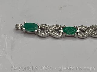 Emerald and Diamond Sterling Tennis Bracelet