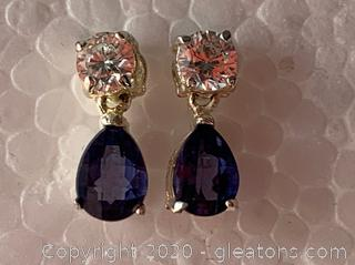 Sapphire and Sterling Drop Earrings
