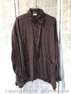 Long-Sleeve Button Shirt Down By Eskandar (Neiman Marcus Size 1)