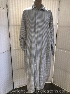 Tan/White Checked Long Dress By Eskandar (Neiman Marcus Size 2)