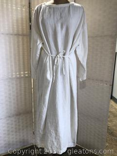 Eskandar White Overhead Robe- Ties At Waist (One Size)