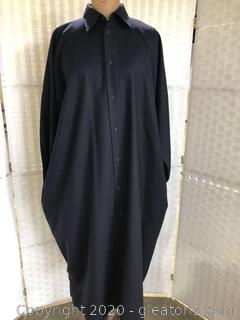Navy Shirt Dress W/Collar By Eskandar (Neiman Marcus Size 1 )