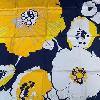 Vintage Christian Dior Gold And Navy Flowered Silk Scarf
