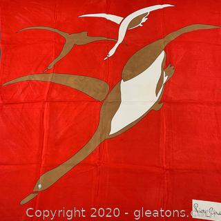 Pierre Cardin Red Duck Print Silk Scarf (A)