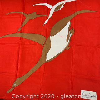 Pierre Cardin Red Duck Print Silk Scarf (B)