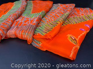 Vintage Italian Silk Oversized Vibrant Orange Scarves