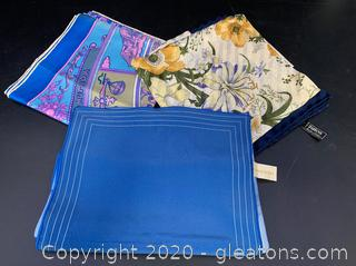 Vintage Blue Toned Italian Silk Scarves