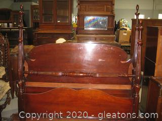 Vintage Mahogany Full-Size Bedframe & Headboard