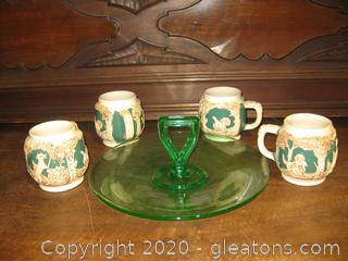 4 Detailed German Ceramic Mugs and a Green  Depression Glass Plate
