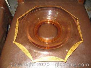 8 Sided Pink Depression Glass Serving Plate