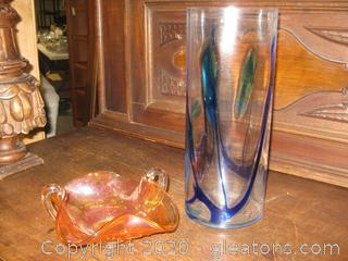 Carnival Glass Candy Dish  And an Art Deco Vase
