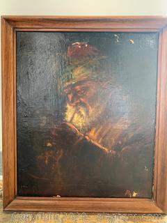 Original Antique Realism-Style Portrait Of A Man Smoking