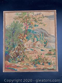 Vintage Woolwork Landscape Embroidery