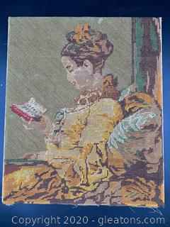 Vintage Woolwork Woman Reading Embroidery
