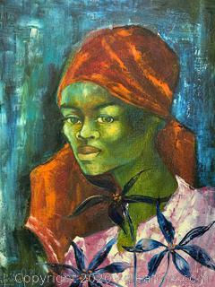 Original Signed Portrait Of Haitian Woman