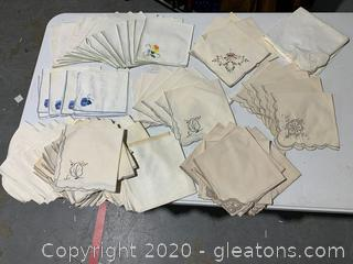 Large Collection Vintage Table Napkins