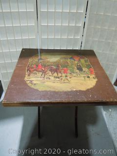 Antique Folding Card Table with Hunting Scene A